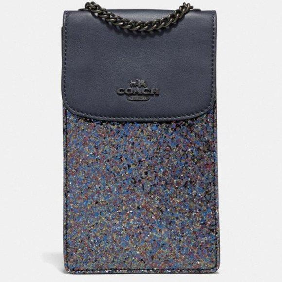 COACH Blue Glitter North South Phone Crossbody Bag